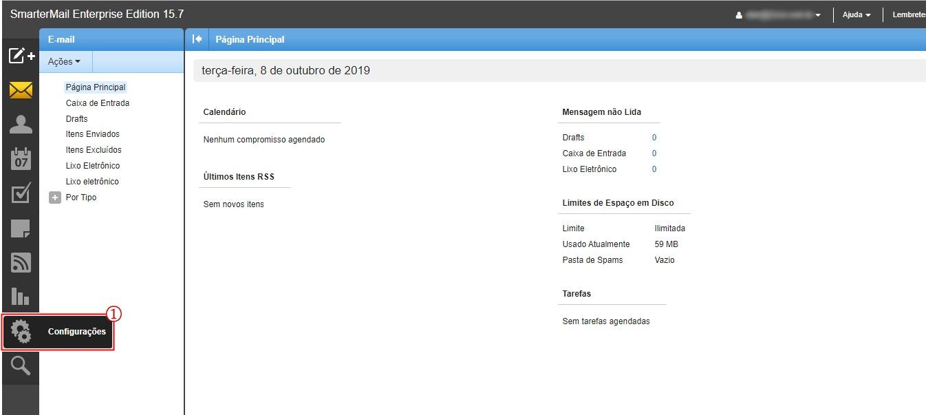 Imagem(2) - Painel de configuração de email